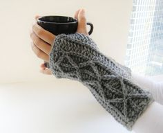 Adeline Fingerless Mitts or Arm Warmers, Free Easy Crochet Pattern with Faux Cables