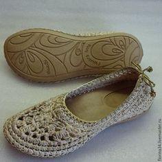 """Купить Балетки вязаные """"Шик"""", хлопок, р.36 - обувь ручной работы, женская обувь"""