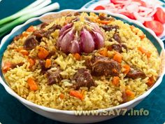 Плов - Pilaf (also known as plov), is a dish in which rice is cooked in a… Good Food, Yummy Food, Beef And Rice, Russian Recipes, Rice Dishes, Chicken Recipes, Oriental, Food Porn, Food And Drink