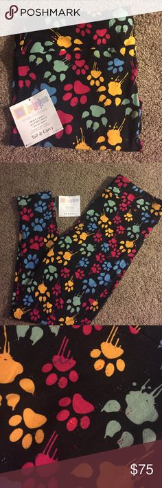 LuLaRoe TC Leggings LuLaRoe TC Paw Print Leggings. Brand new still in bag, only taken out for pictures and to try on. Made in Vietnam. LuLaRoe Pants Leggings