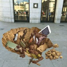 #StreetArt devant un #AppleStore par Eduardo Relero #ChildLabor