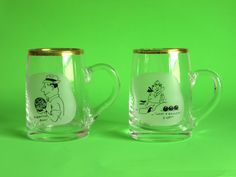 Vintage 50s Funny Cartoon Lawn Bowls Glass Stein Mug - Set of Two - Kitsch Black & White Cartoon Bowling Glasses by FunkyKoala on Etsy