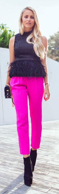 Pink Ankle Trousers, love the feather detail and the bright coloring.