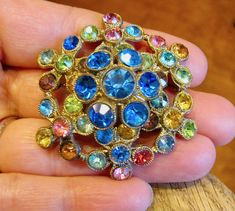 Antique Large Domed Colorful Austrian Crystal Rhinestone Flower Brooch Pin Pot Metal Mounting Paste Stones Long Pin Stem Vintage Jewelry by VintagePolice4U on Etsy