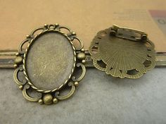 10pcs Antique Bronze Brooch Back Pin Setting for by JuanGao, $6.00