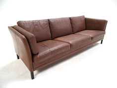 Vintage Danish Tan Brown Leather Mogensen Style 3 Seater Sofa Midcentury 1960s