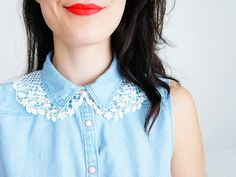Aughysia // Handmade White Floral Lace Collar Golden Brass by EPUU, $34.00