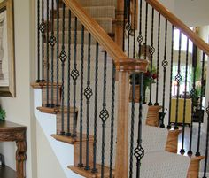 Double Twist Single Basket Hollow Ends: Sq. balusters Shoes: The double twist single basket iron baluster features two six inch twists and a single basket. This baluster is hollow wrought iron and is square. Iron Spindle Staircase, Wrought Iron Stair Railing, Iron Balusters, Oak Banister, Stair Spindles, Interior Stair Railing, Modern Stair Railing, Staircase Design, Cheap Stair Parts