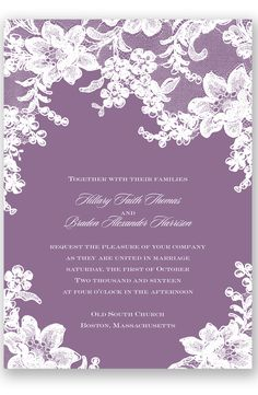 Lace Fantasy Wedding Invitation in Wisteria by David's Bridal | Follow us and start pinning pretty paper options for a chance to win $1,000 to InvitationsbyDavidsBridal.com