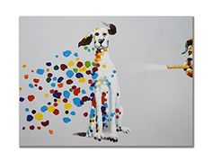 SEVEN WALL ARTS  100 Hand Painted Oil Painting Animal Mischievous Dog with Stretched Frame  24x 36 Inch -- See this great product.