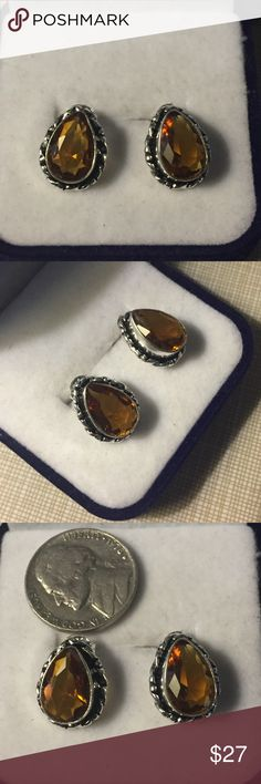 Quartz citrine stamped 925 earrings Beautiful Madeira citrine Quartz stamped 925 earrings 13mm pierce handcrafted artisan pretty design faceted stones very stylish nwot Jewelry Earrings