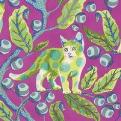 """"""" I have often remarked that the only animals I will never put on fabric are domestic pets. If ever there was a cat to envy, this is the one. Tula Pink. Tula Pink - DISCO KITTY - Marmalade Skies-BLUEBIRD-BERRYBIRD-STRAWBERRY FIELDS. 