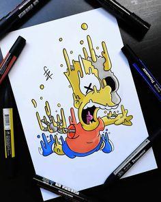 Easy Graffiti Drawings, Graffiti Doodles, Cool Art Drawings, Art Drawings Sketches, Cute Doodle Art, Doodle Art Designs, Doodle Art Drawing, Drugs Art, Hippie Painting