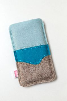 Felt phone cover  heathered beige and blue  Summer by StudioBIG, €17,50