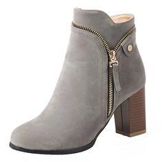 37b55d69acd3 AIYOUMEI Damen High Heels Blockabsatz Stiefeletten mit Reißverschluss und  8cm Absatz Klassischer Stiefel  Amazon.de  Schuhe   Handtaschen