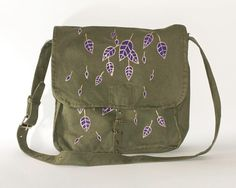 Vintage Military Bag with Hand-painted Leaves in Gold and Purple