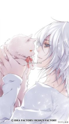 White hair anime / manga boy with kitten Anime Boys, Manga Anime, Comic Manga, Fanarts Anime, Cute Anime Boy, Hot Anime Guys, I Love Anime, Awesome Anime, Manga Art