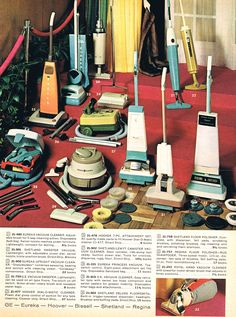 Vacuum Cleaners, 1960's - My mom had vacuums similar to #'s 28 and 29, and a floor polisher similar to #32.