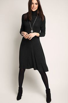 polo neck knit dress