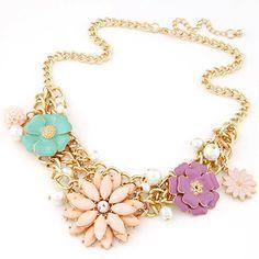 Executive multicolor gemstone decorated flower design alloy Korean Necklaces, in stock $3.32