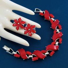 Signed STAR Lipstick Red Thermoset Moon Glow Lucite Bracelet & Earrings