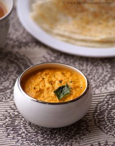 Carrot Peanut Chutney Recipe - Carrot Palli Pachadi recipe - South Indian Chutney Recipes for Idli Dosa - Blend with Spices South Indian Chutney Recipes, Indian Food Recipes, Chutneys, Chutney Varieties, Sauces, Peanut Chutney, Dips, Indian Breakfast, South Indian Food