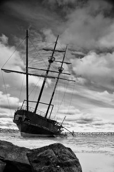 Sometimes the sturdiest and most majestic of vessels will succumb to the storm. Abandoned Ships, Abandoned Places, Ghost Ship, Vintage Boats, Pirate Life, Flappers, Shipwreck, Tall Ships, Lighthouses