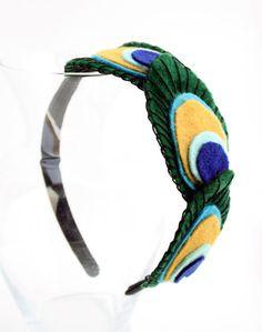 Items similar to Felt Peacock Feather Headband on Etsy - krishna Felt Crafts Diy, Foam Crafts, Felt Diy, Felt Headband, Feather Headband, Felt Peacock Feathers, Felt Hair Accessories, Peacock Costume, Fancy Dress For Kids