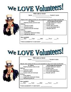"""FREEBIE! Parent Volunteer Request Form      Great to send home with """"First Day of School Stuff"""" Packet"""