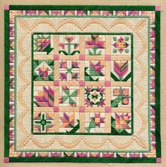 "Flower Sampler 9"" x 9"" on 18 ct. canvas Pattern: $12.00 - by Laura J Perin Designs"