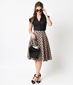 Retro Tan & Black Polka Dot Thrills Circle Skirt