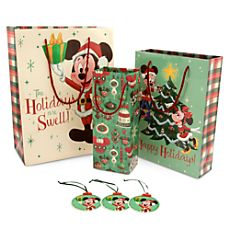 Mickey and Minnie Mouse Holiday Gift Bag Set