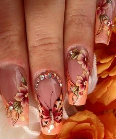 35 Best Fall Nail Designs and Ideas Must Try - Dream nails - Nail Butterfly Nail, Flower Nail Art, Long Nails, My Nails, Fall Nail Art Designs, Metallic Nails, Acrylic Nails, Dream Nails, Nail Decorations