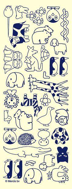De dieren die voorkomen in het verhaaltje van Nijntje.