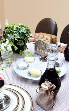 Passover Seder table. I love this idea of individual seder plates at ...