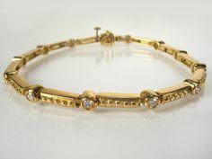 18K Yellow Gold and Diamond Link Bracelet by lonestarestates $1425.00