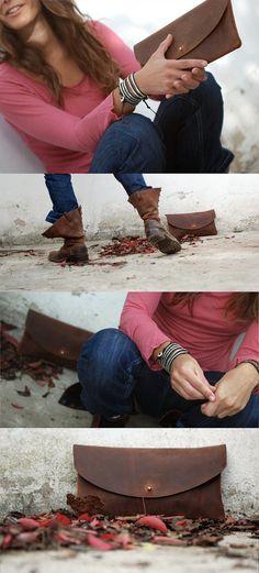 Leather clutch bag Oiled leather handbag by JustWanderlustShop