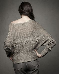 Newport News  Metallic Dolman-Sleeve Sweater with Horizontal Cable Pattern