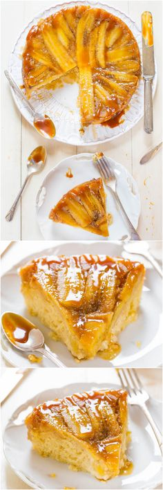 Caramelized Banana Upside-Down Cake - Have ripe bananas? This cake has their name all over it! Dripping with rich, buttery, caramel sauce!