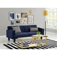 DHP's Metro Futon Convertible Sofa Bed in navy blue brings a classic yet contemporary look to your home decor. This elegant sofa bed converts quickly and easily from a comfortable lounger to a full-size sleeper with click clack sofa technology. Couch Furniture, Living Room Furniture, Living Room Decor, Cheap Furniture, Navy Blue Couches, Navy Sofa, Blue Sofas, Living Pequeños, Small Spaces