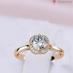 "If you are Searching for Beautiful Engagement ring ? Then your Search ends here. - SUMMER SALE - 75% OFF Retail - Take Additional 10% off Coupon Code : ""TriJewels10"" #Diamond #Halo #Engagement #Ring #14K #Rose #Gold #finejewelry #jewelryforwomen #giftforher #love #gift"