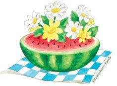 Watermelon & Flowers. Art by Gooseberry Patch.