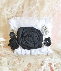 Black and White Bridal Cuff, Boho Style, Elastic, Beautiful Antique Earring, pearls and tulle for that Special Day on Etsy, $50.00