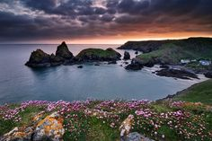 The Kynance Cove is located on the Lizard Peninsula in Cornwall, nearly all the way down to Lizard on the west coast.