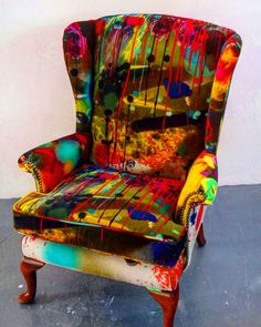 Reupholstered Chair by Timorous Beasties in a signature TB Fabric. Graffiti Furniture, Art Furniture, Upholstered Furniture, Upcycled Furniture, Unique Furniture, Furniture Makeover, Furniture Design, Furniture Buyers, Furniture Dolly