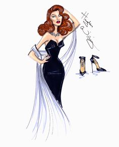 Hayden Williams Fashion Illustrations | Hollywood Icons: Rita Hayworth by Hayden Williams