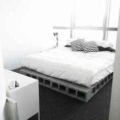 Cinder Block Bed Frame , Minimalist Bed
