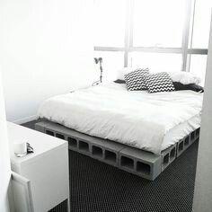 Cinder Block Bed Frame , Minimalist Bed
