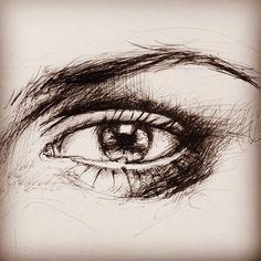 Ballpoint pen eye sketch