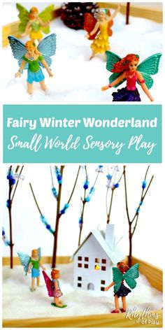 This DIY fairy winter wonderland small worlds is easy to make and provides unlimited hours of pretend imaginative play. It is also wonderful for developing fine motor skills, the sensory system, and literary skills.